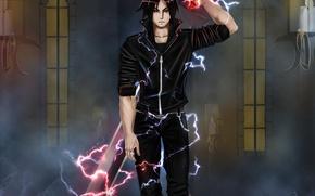 Обои оружие, магия, меч, аниме, арт, парень, air monger