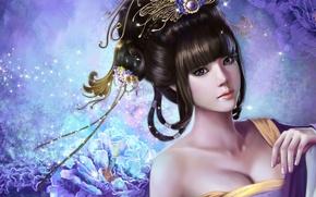 Обои цветы, арт, украшения, искры, прическа, nana hang, девушка, азиатка