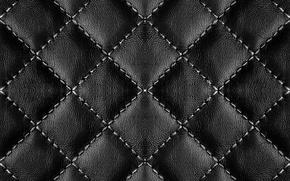 Картинка фон, текстура, кожа, нитки, black, leather, прошивка, стеганая