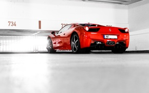 Картинка красный, парковка, red, ferrari, феррари, италия, 458 italia, задок
