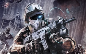 Картинка battlefield, skull, gun, soldiers, weapon, jungle, war, man, tatoo, glasses, rifle, conflict, Ghost Recon, assault …