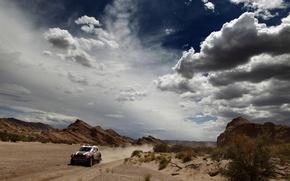 Картинка Небо, Красный, Облака, Пустыня, Mini Cooper, Rally, Dakar, MINI, Мини Купер