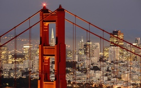 Картинка city, lights, Golden Gate Bridge, landscape, bridge, sunset, panorama, night, evening, San Francisco, buildings, skyscrapers, …