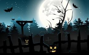 Обои кладбище, удавка, ночь, летучие мыши, полнолуние, Halloween, адская ухмылка, светильник Джека, виселица, тыквы, хэллоуин, петля