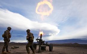 Картинка поле, небо, выстрел, солдаты, залп, мортира, Миномёт