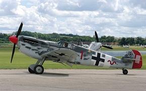 Картинка Ме-109, немецкий, одномоторный, WW2, Мессершмитт Bf.109, поршневой истребитель
