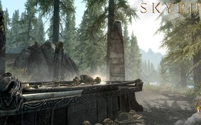 Картинка лес, горы, кости, скелет, саркофаг, надгробие, Skyrim, The Elder Scrolls V