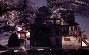 Картинка горы, Япония, сакура, Аниме, рендер