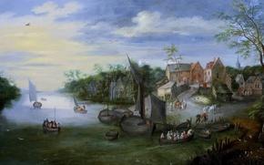 Обои картина, лодка, дома, Ян Брейгель младший, люди, Речной Пейзаж с Видом на Деревню