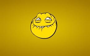 Обои минимализм, троллфэйс, Лицо тролля, smile, Trollface, желтый