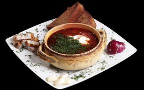 Картинка зелень, лук, тарелка, хлеб, борщ, чеснок, сало