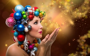 Картинка девушка, шарики, украшения, лицо, праздник, игрушки, новый год