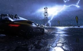 Картинка дождь, гонка, игра, гонки, mercedes, rain, race, amg, 2014, PS4, 2015, Driveclub, Evolution Studios