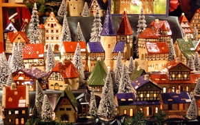 Картинка зима, снег, окна, новый год, крыши, деревня, башни, домики, макет, Winter, model, миниатюра, village
