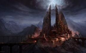 Картинка мост, замок, молнии, арт, мрачно, Lord of The Rings, War In The North, Ilya Nazarov