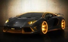Картинка supercar, Black, Lamborghini Aventador, ламборгини авентадор, Gold