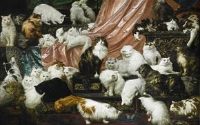 """Картинка коты, картина, живопись, Карл Калер, 42 кота, """"Любовники моей жены"""", 1891 год"""