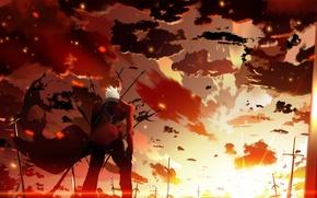Картинка небо, облака, закат, оружие, аниме, арт, парень, skyt2, fate/stay night, archer