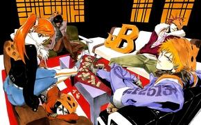 Картинка девушка, арт, парни, bleach, Ichigo Kurosaki, anime, Rukia Kuchiki, Orihime Inoue, abarai renji, Yasutora Sado
