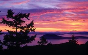 Картинка фиолетовый, закат, красно