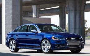 Картинка Audi, Ауди, Синий, Машина, Машины, Седан, Car, Автомобиль, Cars, Blue, Автомобили, Sedan, US-spec