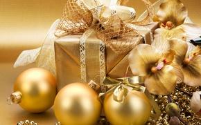 Картинка украшения, шары, Новый Год, Рождество, gold, Christmas, золотые, decoration, Merry