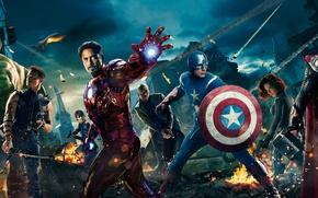 Обои Роберт Дауни мл, Крис Эванс, тор, город, Мстители, The Avengers, халк, ночь, щит, вертолет, Марк, ...