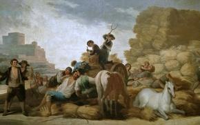 Картинка люди, лошадь, картина, Лето, жанровая, Франсиско Гойя