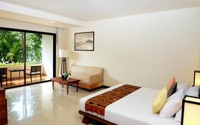 Обои дизайн, стиль, стол, комната, диван, лампа, кровать, интерьер, кресло, подушки, квартира, коричневый