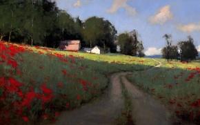 Картинка дорога, поле, лето, небо, облака, деревья, пейзаж, маки, дома, картина, арт, колея, тропинка, поселок, Romona ...