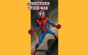 Картинка крыши, желтый фон, супергерой, комикс, Marvel Comics, Spider-Man, Peter Parker, Питер Паркер, Человек-Паук, Марвел
