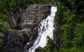 Картинка лес, деревья, скала, камни, водопад, Канада, Canyon Sainte-Anne