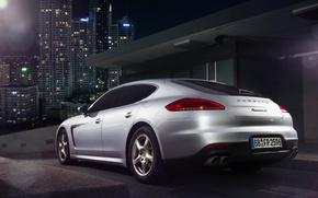 Картинка Porsche, City, Car, Silver, Rear, Ligth, Nigth, Scape, Panamera S