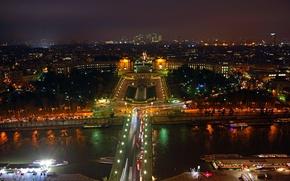 Картинка деревья, ночь, мост, огни, парк, река, Париж, дома, фонтан, France, панорама.
