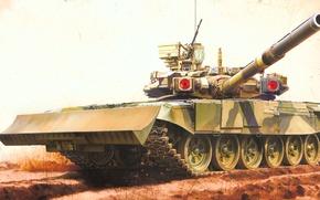 Картинка war, art, painting, tank, Russian Main Battle Tank T-90 w/TBS-86 Tank Dozer