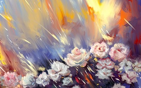Картинка цветы, розы, арт, живопись