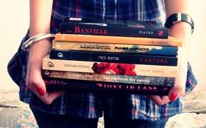Картинка руки, книги, девушка, учеба