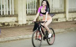 Картинка девушка, велосипед, город, улица, азиатка