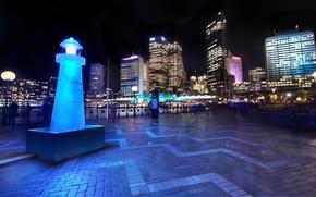 Обои ночь, сидней, light, австралия, night, Australia, Sydney, downtown, Harbor and Skyline