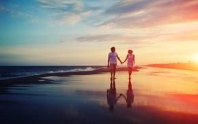 Картинка море, любовь, закат, пара, отношения, набережная