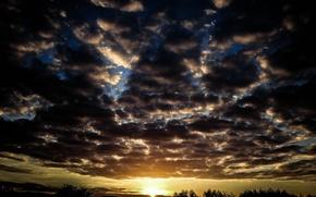 Картинка Nature, Clouds, Sky, Sunset, Autumn, Dusk