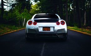 Картинка GTR, Nissan, R35, Road, Silver, Forest, Rear, Ligth