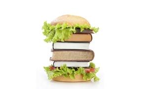 Картинка книги, гамбургер, булка, салат, пища для ума