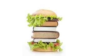 Обои салат, книги, гамбургер, пища для ума, булка