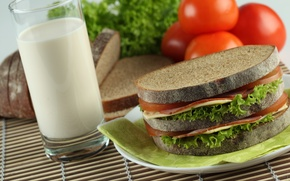 Обои еда, молоко, хлеб, бутерброд, помидоры, продукты
