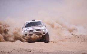Картинка Песок, Пыль, Машина, Занос, Mitsubishi, Rally, Dakar, Внедорожник