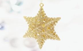 Картинка праздник, звезда, новый год, рождество, белый фон, украшение, christmas, new year, золотая