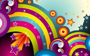 Картинка звезды, линии, круги, абстракция, фон, радуги