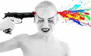 Обои выстрел, девушка, ситуация, пистолет
