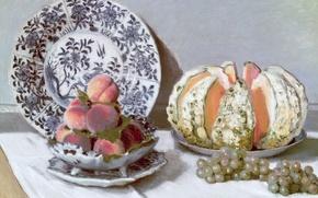 Картинка картина, виноград, персики, блюдо, Клод Моне, Натюрморт с Дыней